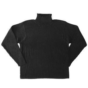 L.L. Bean Black Ribbed Cotton Turtleneck Sweater